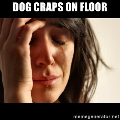 crying girl sad - DOG CRAPS ON FLOOR