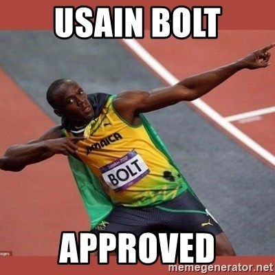 USAIN BOLT POINTING - usain bolt approved