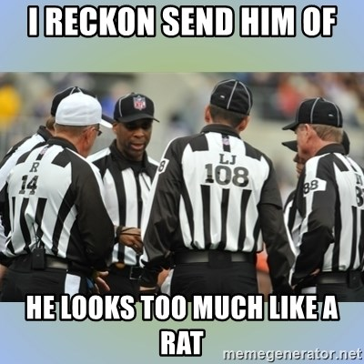 NFL Ref Meeting - I RECKON SEND HIM OF  HE LOOKS TOO MUCH LIKE A RAT
