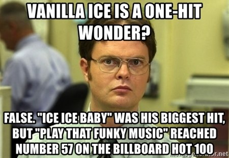 "Dwight Schrute - Vanilla Ice is a one-hit wonder? False. ""Ice Ice Baby"" was his biggest hit, but ""Play That Funky Music"" reached number 57 on the Billboard Hot 100"