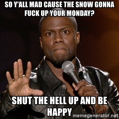 Kevin Hart - So y'all mad cause the snow gonna fuck up your Monday? SHUT THE HELL UP AND BE HAPPY