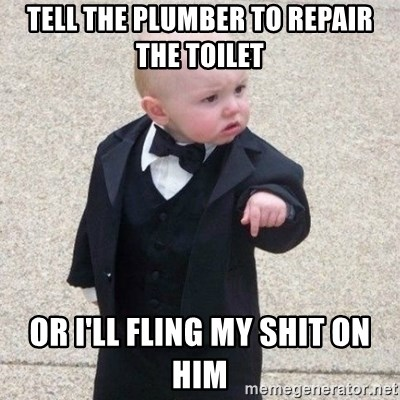 Mafia Baby - tell the plumber to repair the toilet  or i'll fling my shit on him