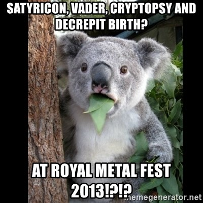 Koala can't believe it - satyricon, vader, cryptopsy and decrepit birth? at royal metal fest 2013!?!?