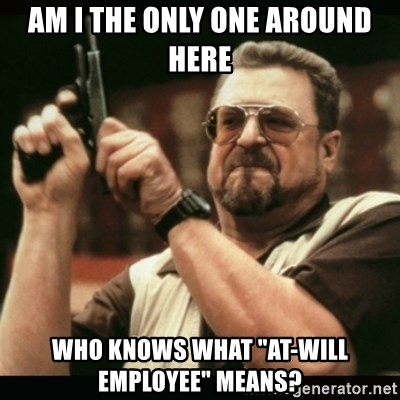 """am i the only one around here - am i the only one around here who knows what """"At-will employee"""" means?"""