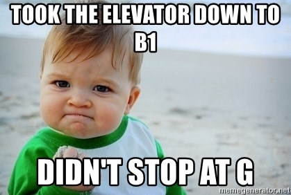 SUCCESS BABY BEACH2 - took the elevator down to b1 didn't stop at g