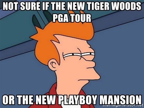 Futurama Fry - not sure if the new tiger woods pga tour or the new playboy mansion