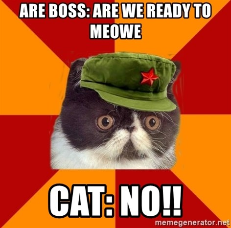 Communist Cat - ARE BOSS: ARE WE READY TO MEOWE CAT: NO!!