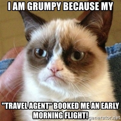 """Grumpy Cat  - i am grumpy because my """"travel agent"""" booked me an early morning flight!"""