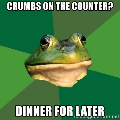 Foul Bachelor Frog - crumbs on the counter? dinner for later