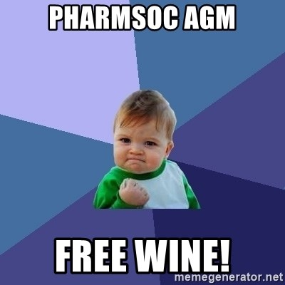 Success Kid - PharmSoc agm Free wine!
