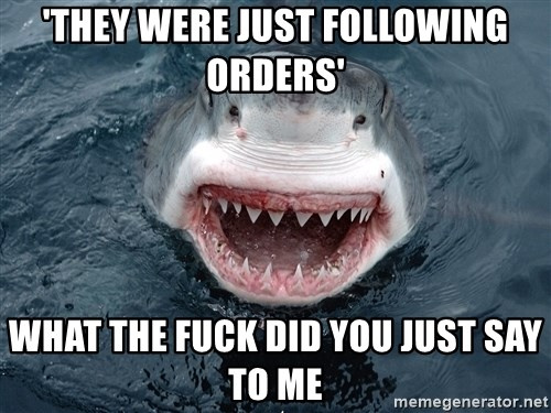 Insanity Shark - 'THEY WERE JUST FOLLOWING ORDERS' WHAT THE FUCK DID YOU JUST SAY TO ME