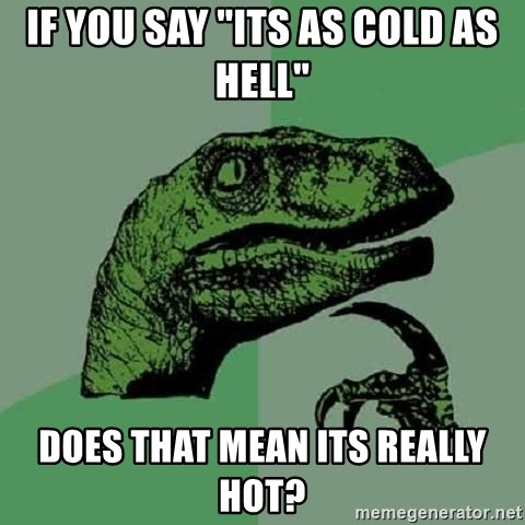 """Philosoraptor - IF YOU SAY """"ITS AS COLD AS HELL"""" DOES THAT MEAN ITS REALLY HOT?"""