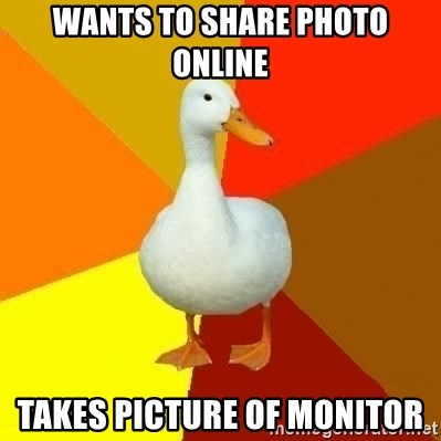 Technologically Impaired Duck - Wants to share photo online Takes picture of monitor