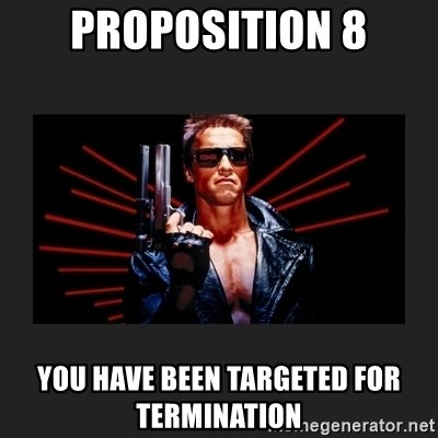 Arnold Terminator - PROPOSITION 8 YOU HAVE BEEN TARGETED FOR TERMINATION