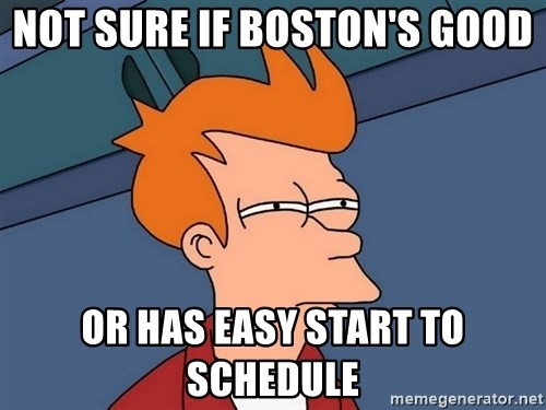 Futurama Fry - Not sure if Boston's good Or HaS easy start to schedule