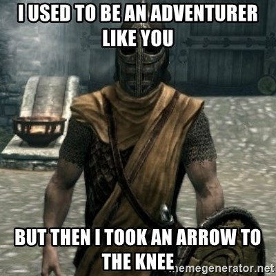 skyrim whiterun guard - i USED to be an adventurer like you but then i took an arrow to the knee