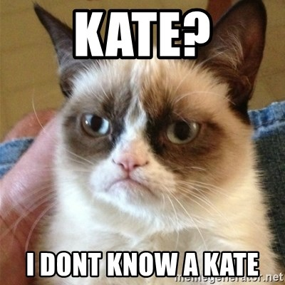 Grumpy Cat  - Kate? I doNt know a Kate