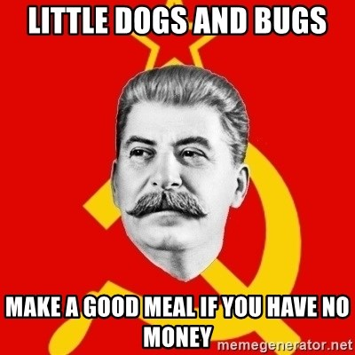 Stalin Says - Little dogs and bugs make a good meal if you have no money