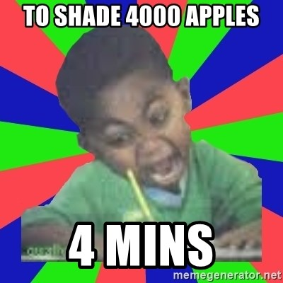 Exam Kid - to shade 4000 apples 4 mins