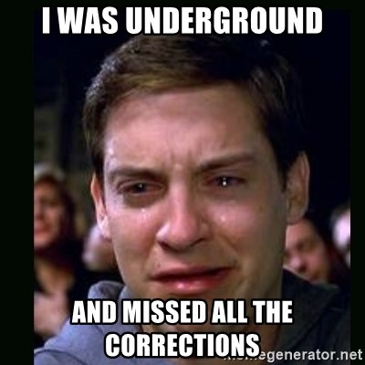 crying peter parker - I was underground and missed all the corrections