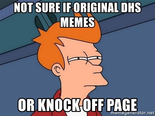 Futurama Fry - NOT SURE IF ORIGINAL DHS MEMES OR KNOCK OFF PAGE