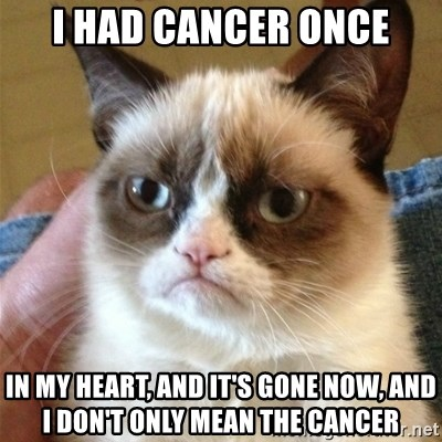 Grumpy Cat  - I Had cancer once In my heart, and it's gone Now, and I don't Only mean the cancer