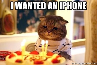 Birthday Cat - I wanted an iphone