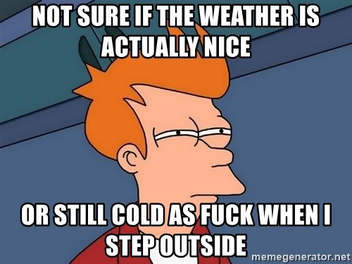 Futurama Fry - not sure if the weather is actually nice or still cold as fuck when i step outside