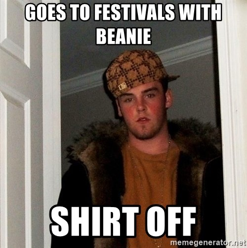 Scumbag Steve - Goes to festivals with beanie shirt off