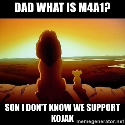 Simba - dad what is m4a1? son i don't know we support kojak