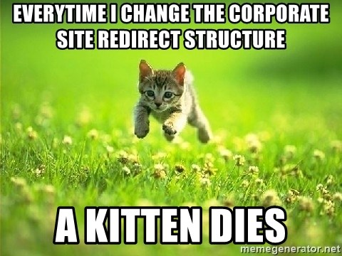 God Kills A Kitten - everytime I change the corporate site redirect structure A kitten dies