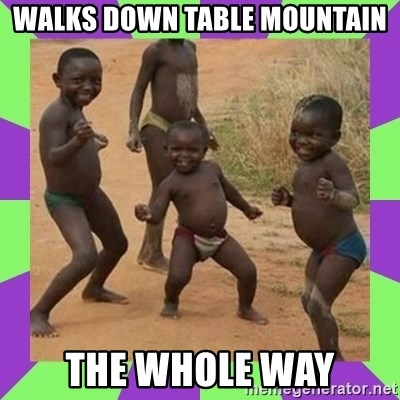 african kids dancing - WALKS DOWN TABLE MOUNTAIN THE WHOLE WAY