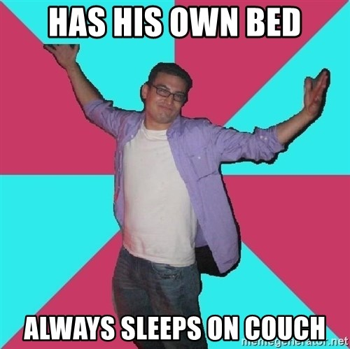 Douchebag Roommate - has his own bed always sleeps on couch