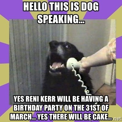 Yes, this is dog! - HELLO THIS IS DOG SPEAKING... YES RENI KERR WILL BE HAVING A BIRTHDAY PARTY ON THE 31ST OF MARCH... YES THERE WILL BE CAKE...