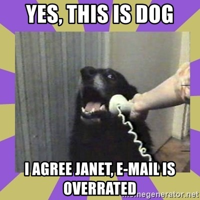 Yes, this is dog! - Yes, this is dog i agree janet, e-mail is overrated