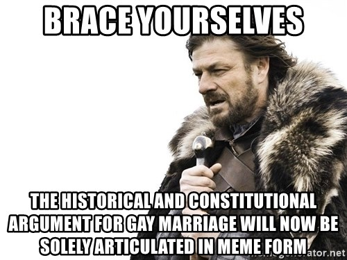 Winter is Coming - BRACE YOURSELVES THE HISTORICAL AND CONSTITUTIONAL ARGUMENT FOR GAY MARRIAGE WILL NOW BE SOLELY ARTICULATED IN MEME FORM