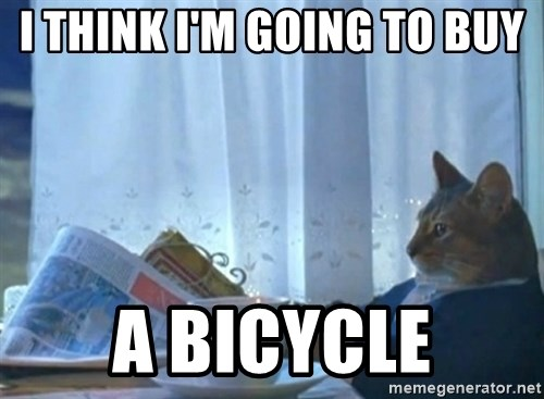newspaper cat realization - I think I'm going To buy A bIcycle