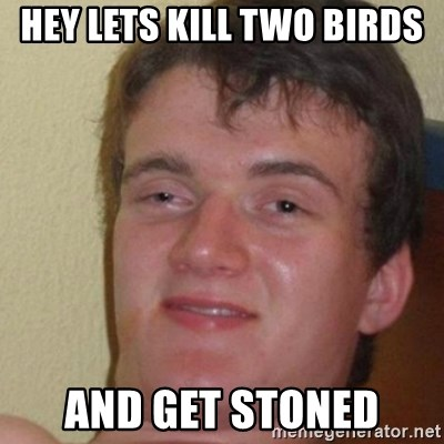 really high guy - Hey lets kill two birds And get stoned