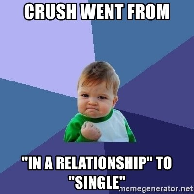 "Success Kid - crush went from  ""in a relationship"" to ""single"""