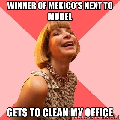 Amused Anna Wintour - winner of Mexico's next to model gets to clean my office