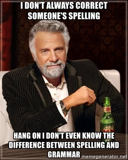The Most Interesting Man In The World - I doN't Always correct someone's spelling Hang on I don't even know the difference between spelling and grammar