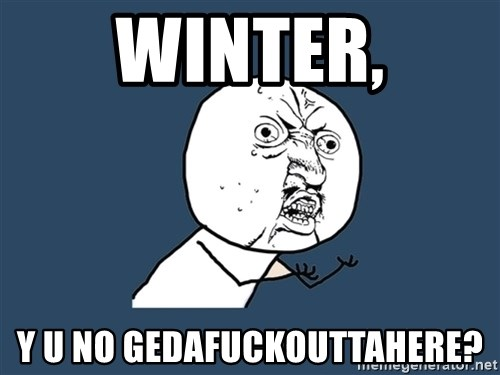 Y U No - winter, y u no gedafuckouttahere?
