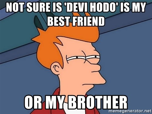 Futurama Fry - not sure is 'devi hodo' is my best friend  or my brother