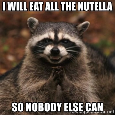 evil raccoon - I WILL EAT ALL THE NUTELLA SO NOBODY ELSE CAN