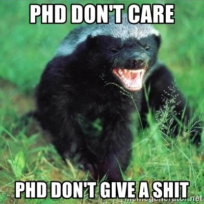 Honey Badger Actual - Phd don't care PHD don't give a SHIT