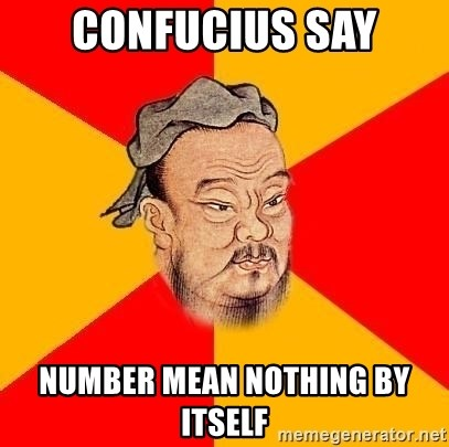 Wise Confucius - Confucius SAY NUMBER MEAN NOTHING BY ITSELF