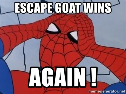 Spider Man - escape goat wins  AGAIN !