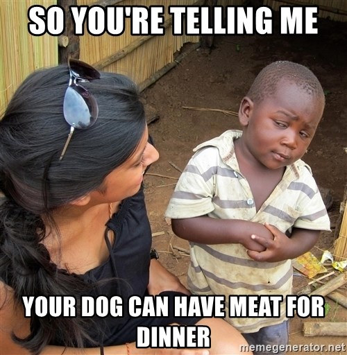 Skeptical African Child - So you're telling me your dog can have meat for dinner