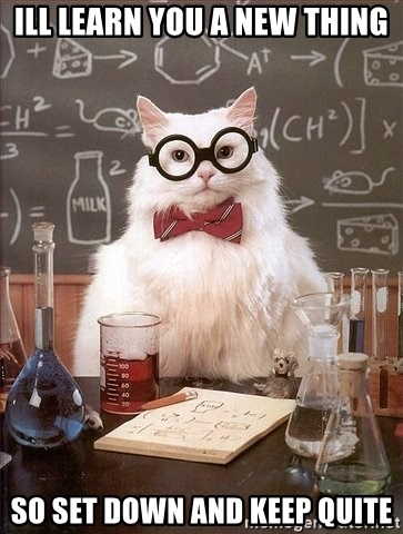 Chemistry Cat - ill learn you a new thing so set down and keep quite