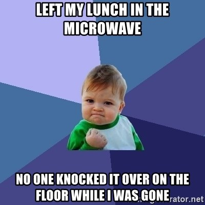 Success Kid - left my lunch in the microwave no one knocked it over on the floor while i was gone